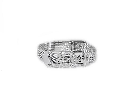 Silver Charm Mesh Bracelet