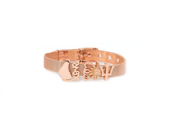 Rose Gold Charm Mesh Bracelet