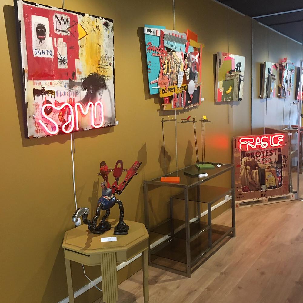 Vue intérieure de la galerie. Yannis Lagresle, Vincent Gachaga, Frédéric Lavaud. Pop art