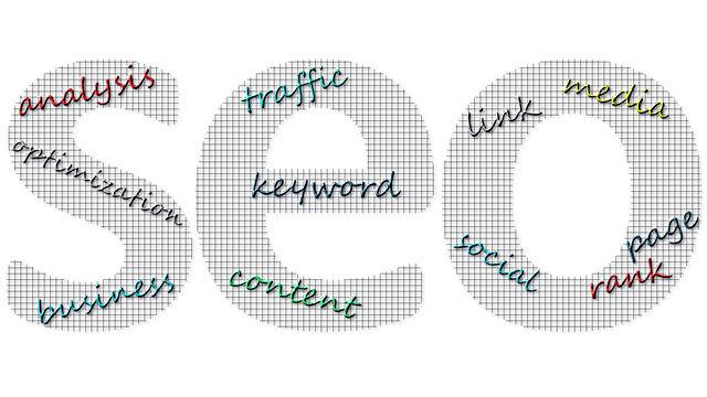 SEO word including keywords analysis optimization business traffic keyword content link media social page rank