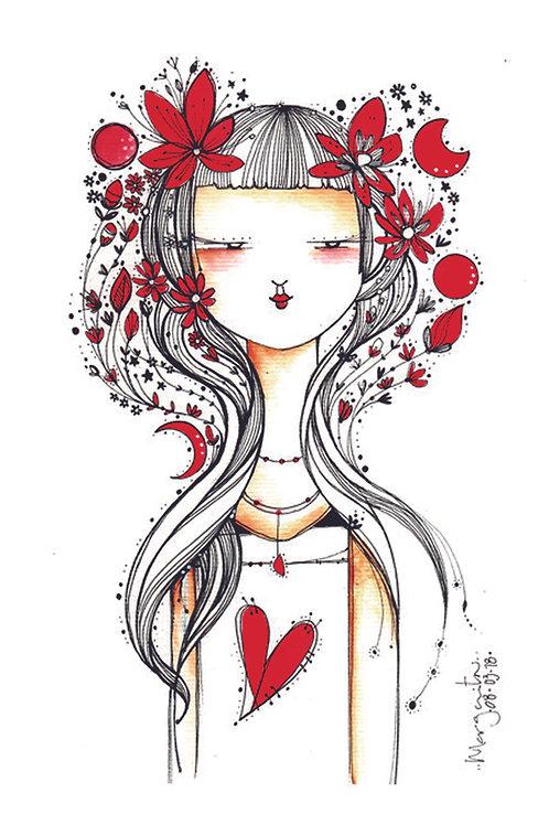 ILUSTRACION Mujer y flores rojas sin texto