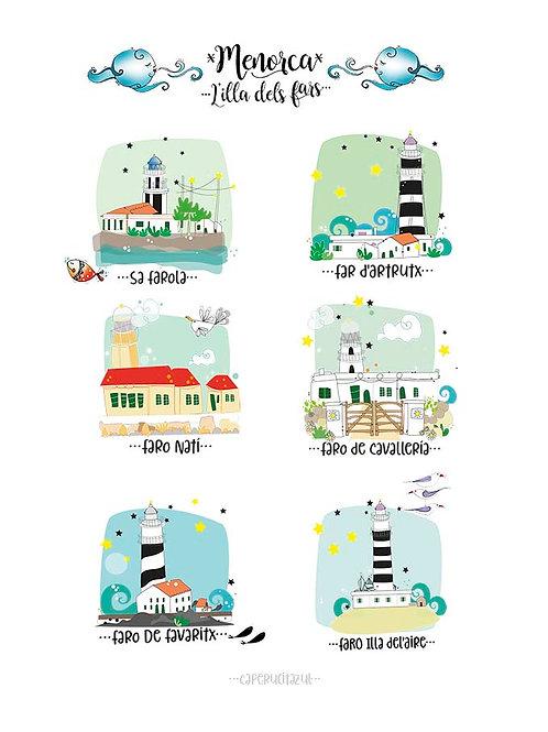 Lámina Faros de Menorca