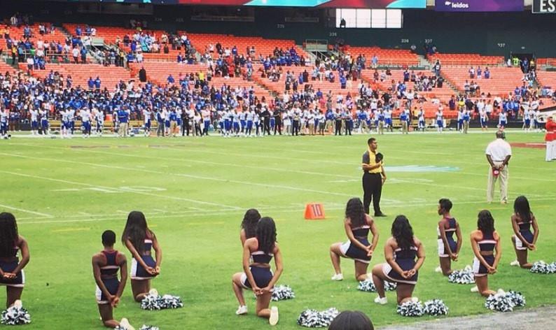 howard-cheerleaders-kneel