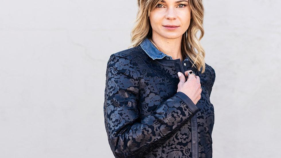 Navy Blue Appliqué Leather Jacket.