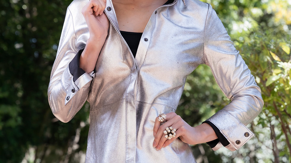 Silver Leather Shirt