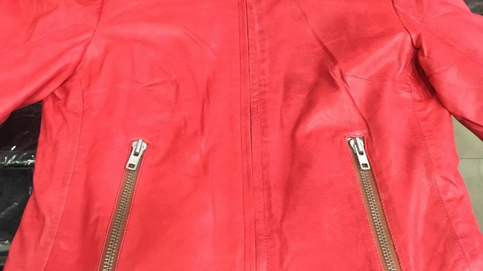 Washed red nappa leather jacket!