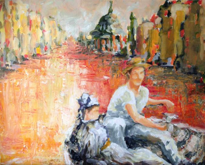 Les maitres se rencontrent    acrylique sur toile 40x50