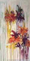 Esprit de bouquet acrylique sur toile 30x60