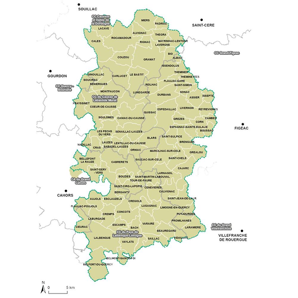 Carte du Parc Naturel Régional des Causses du Quercy