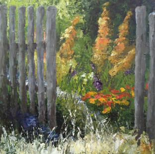 Derrière la barrière  acrylique sur toile 50x50