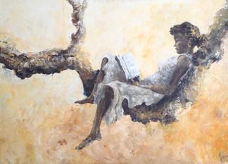 A l'abri - acrylique sur toile 50x70