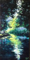 La rivière s'éclaire acrylique sur toile 30x60