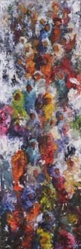 Couleur d'humanité acrylique sur toile 30x90