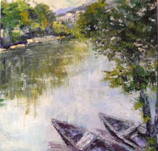 Silencieuse Dordogne acrylique 50x50