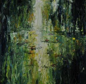 Lumière sur la Dordogne acrylique sur toile 80x80