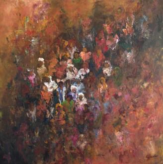 Nuage de foule acrylique sur toile 70x70