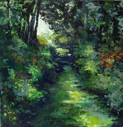 Verte rivière acrylique sur toile 50x50
