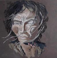 Berger d'Himalya acrylique sur toile 80x80