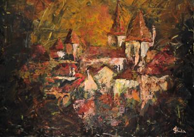 Village d'automne acrylique sur toile 50x60