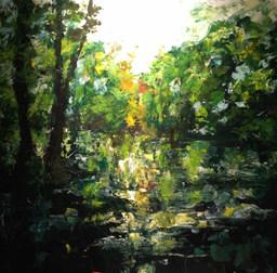 Reflet de Dordogne acrylique sur toile 80x80