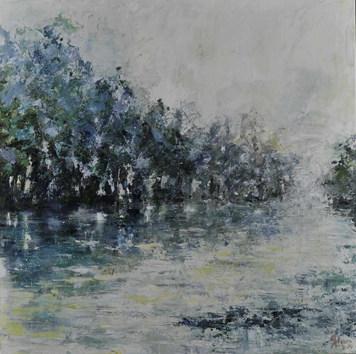 Brume de Dordogne acrylique sur toile 80x80
