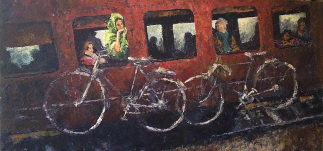 Le Delhi express    acrylique sur toile 50x100