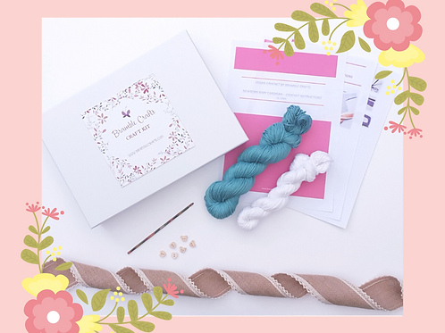 Crochet - Newborn Cardigan Kit - Sea Green GIFT BOXED