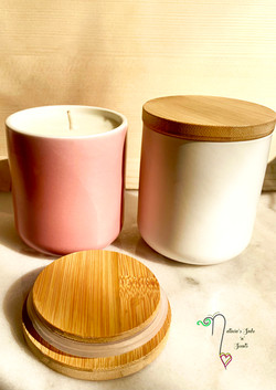 Cermanic Candle containers pink & white.