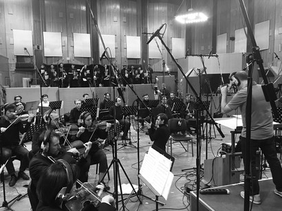 Recording the original music for The Tattooed Torah with the Bow Tie Orchestra and Choir in Moscow. Daniel Alcheh (composer and conductor).