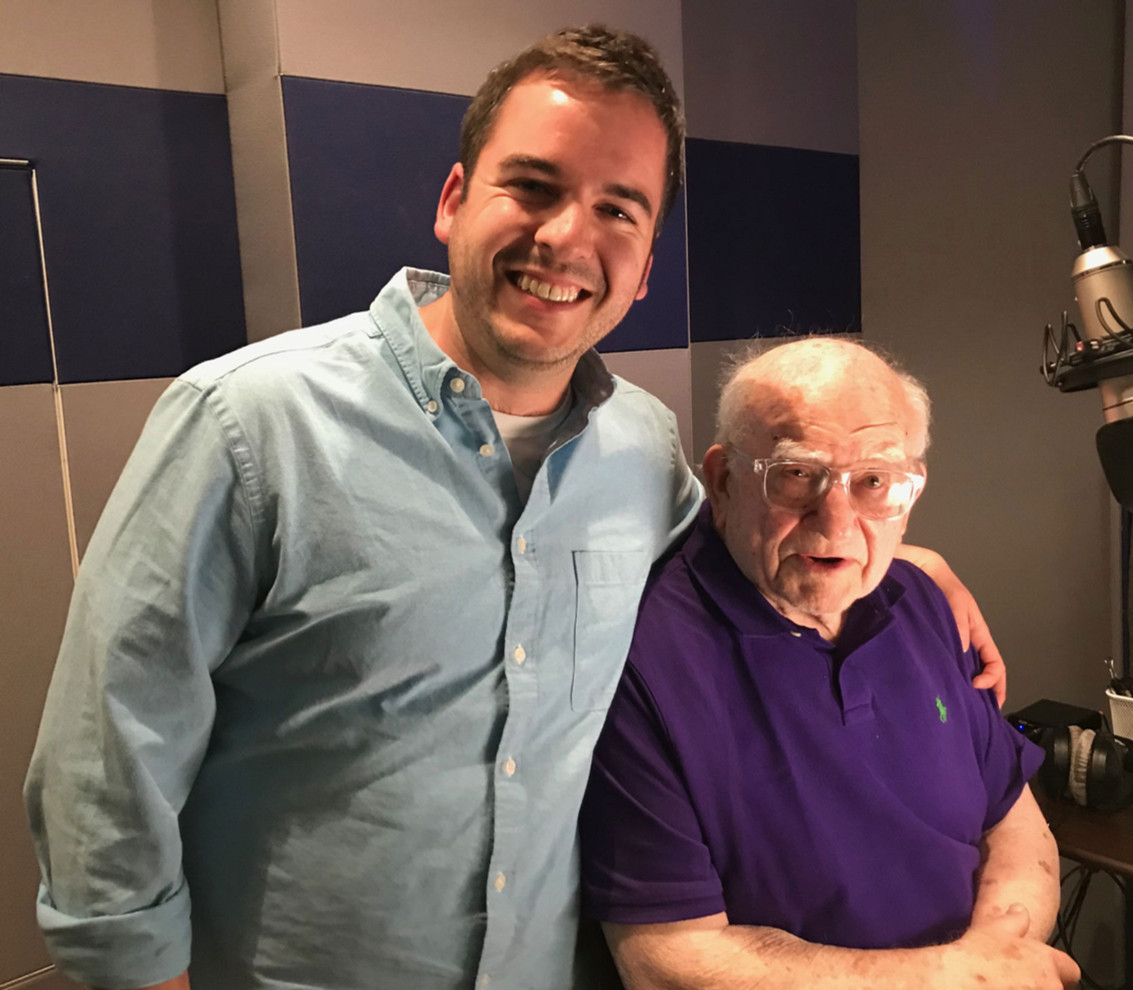 Brett Kopin (co-screenwriter) with Ed Asner at recording session.