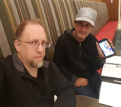 Jeffrey Pittle (animator) and Marc Bennett (director and co-screenwriter) working on storyboards for the film.