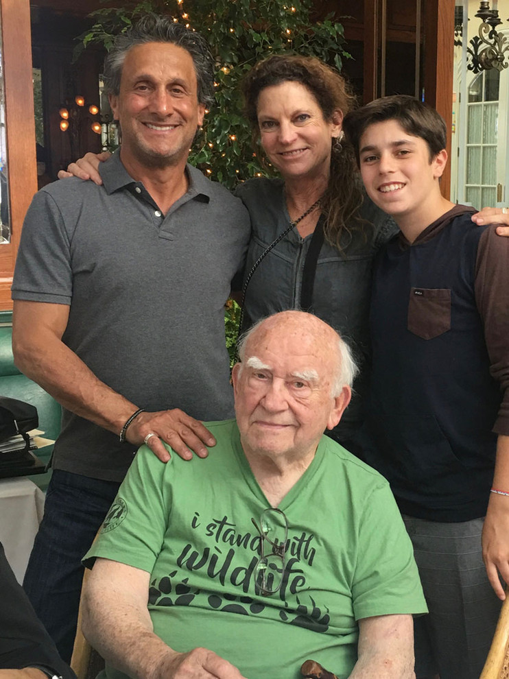 Marc Bennett (director and co-screenwriter), Melinda Goldrich (executive producer), Derek Cayton, and Ed Asner.