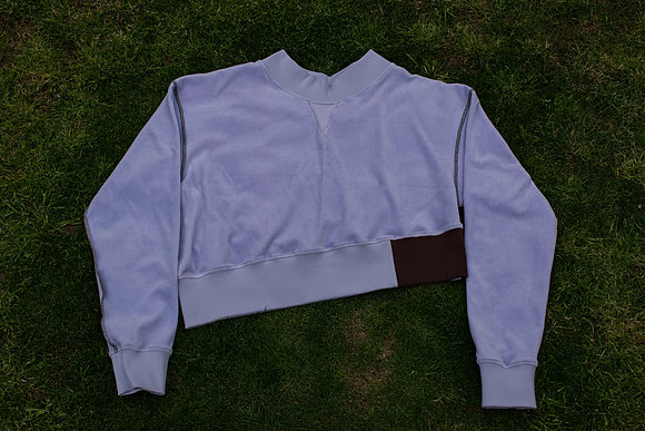 Reversible Cropped Crewneck Sweatshirt Lilac Velour