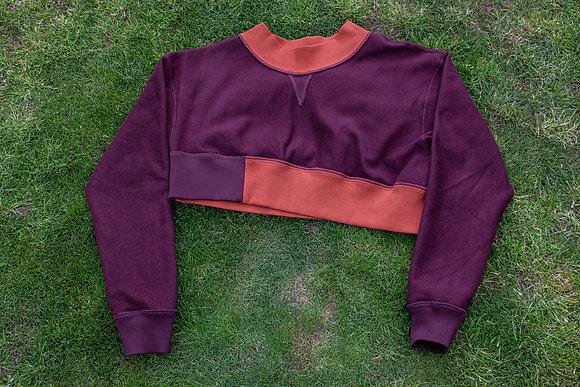 'Missing Link' Reversible Cropped Crewneck Sweatshirt Grape