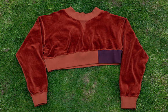 Reversible Cropped Crewneck Sweatshirt