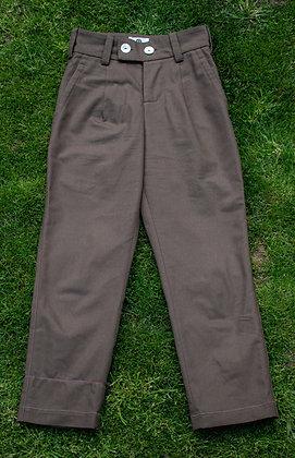 Original Kozi High Waisted Smart Trouser Brown Twill