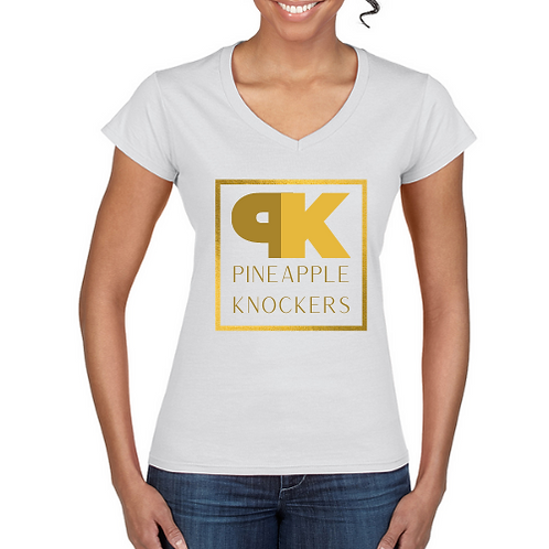 Square PK Logo V Neck Ladies Tee