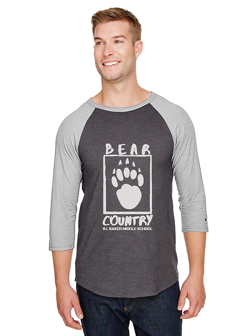Baker BEAR COUNTRY Logo on Champion Baseball Tshirt CP75