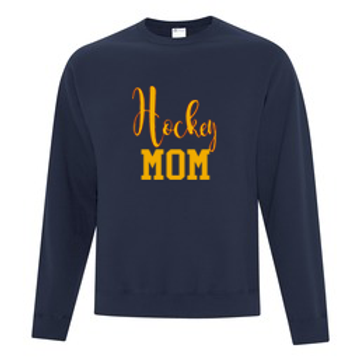"""Hockey Mom"" In Gold Foil on Navy Crewneck"
