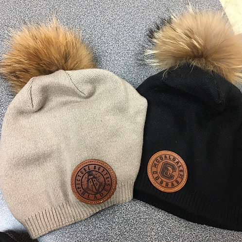 Real Fur Ladies Toque with Leather patch