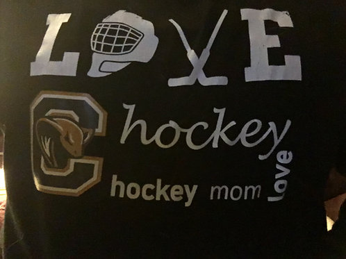 Love Hockey Boat Neck Sweat Shirt