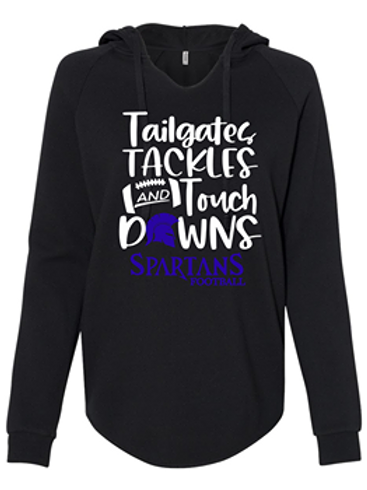 TAILGATES, TACKLES AND TOUCH DOWNS LOGO LADIES HOODIE