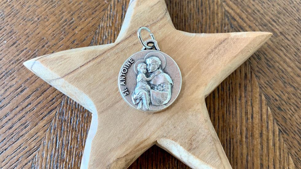 Médaille Saint Antoine de Padoue (bénie) - métal argenté - 20 mm
