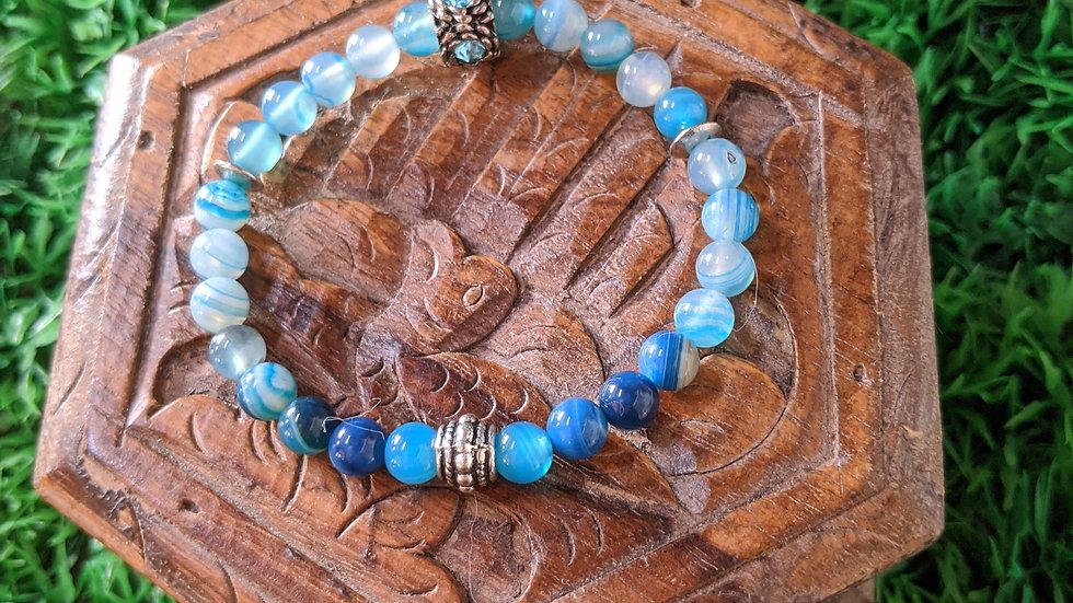 Bracelet Agate et perle avec strass, Médaille de St Benoît