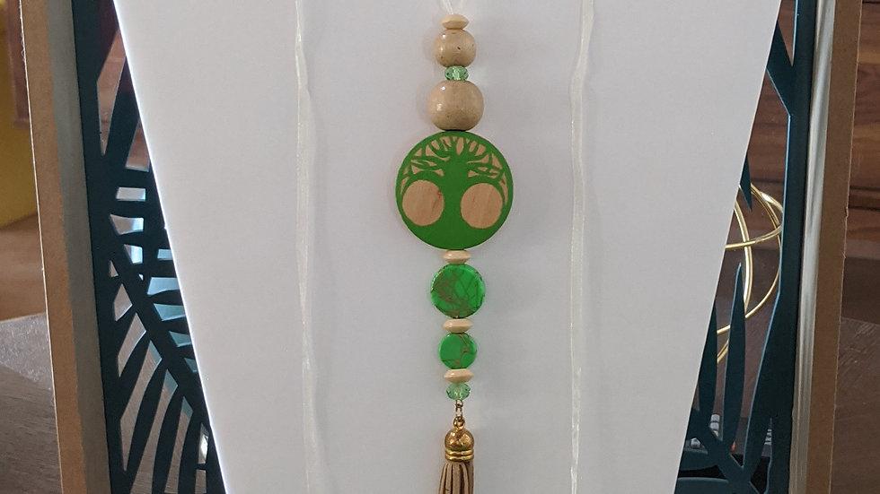 Collier Réglable Vert Arbre de vie en bois et Om