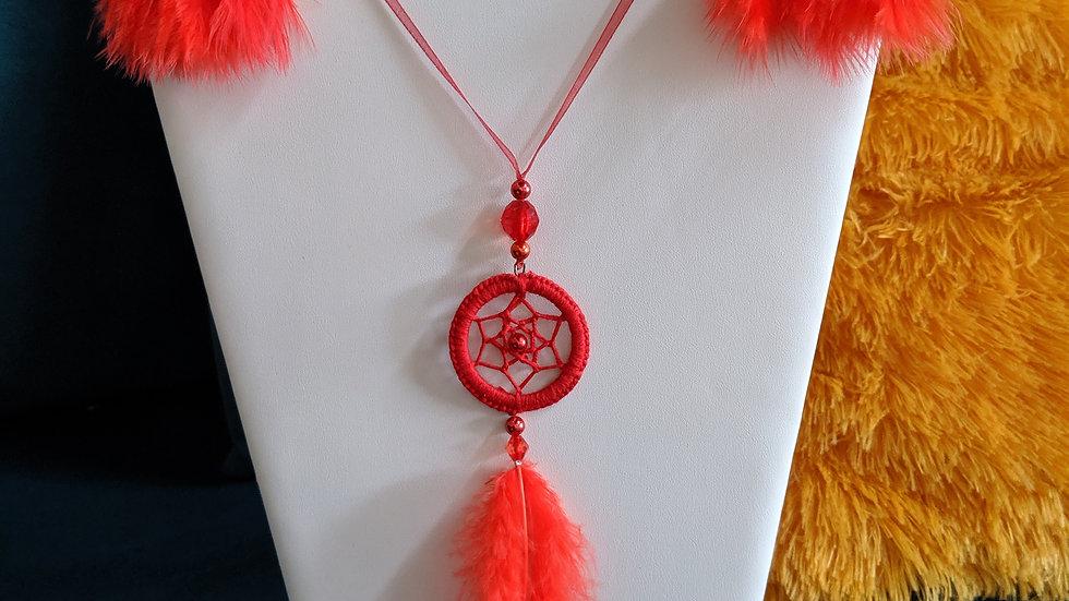 Parure Rouge Collier et boucles d'oreilles Attrape Rêves