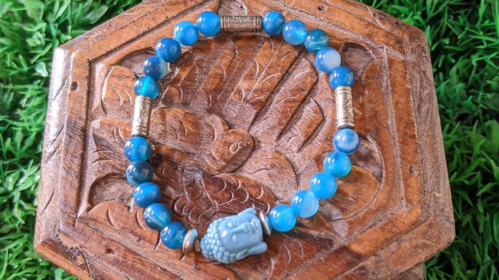 Bracelet Agate, tête de Buddha Howlite, Médaille de St Benoît