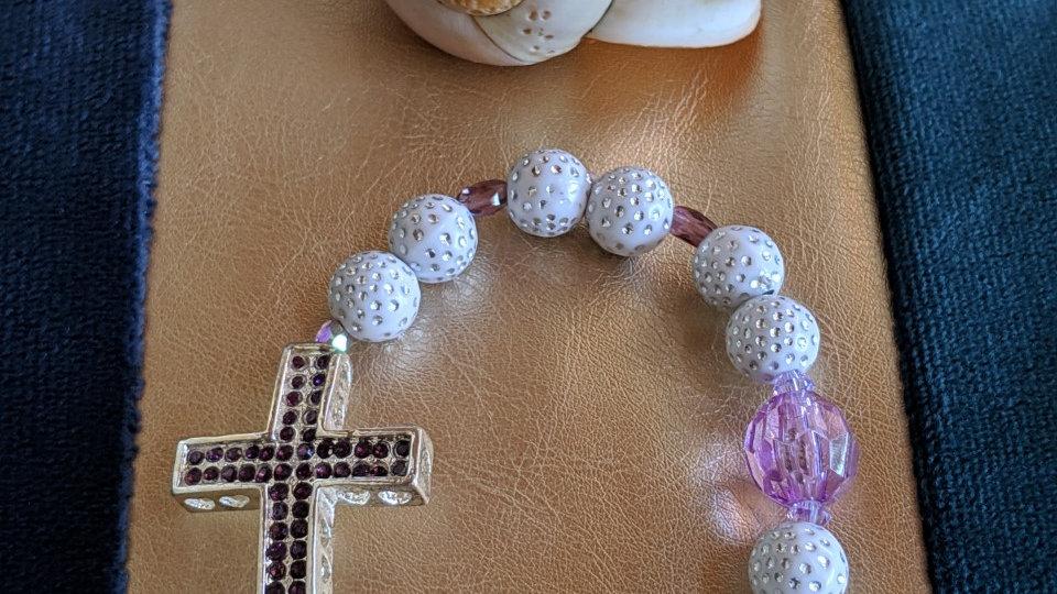 Bracelet perles Fantaisie et Croix avec strass Violets
