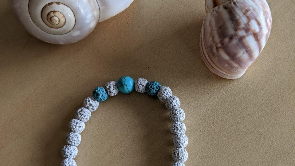 Bracelet de Pierres de Lave Blanches et Turquoises