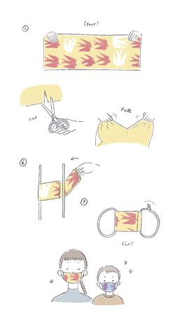 「縫わない手ぬぐいマスクの作り方」手順
